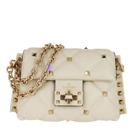 Valentino  Umhängetasche  -  Mini Shoulder Bag Leather Light Ivory  - in weiß  -  Umhängetasche für Damen braun