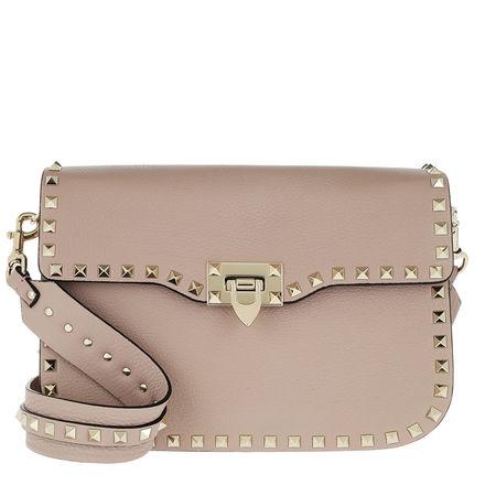 Valentino  Umhängetasche  -  Rockstud Bag Wide Shoulder Strap With Studs Poudre  - in beige  -  Umhängetasche für Damen braun