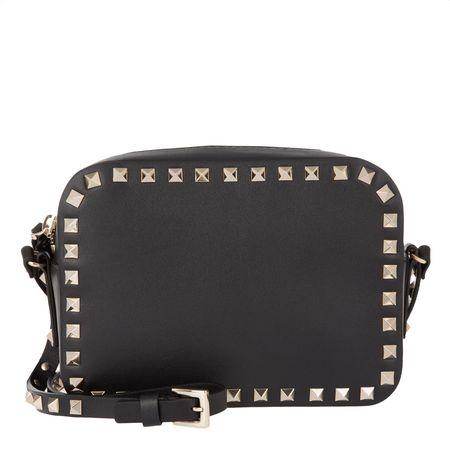Valentino  Umhängetasche  -  Rockstud Camera Crossbody Bag Black  - in schwarz  -  Umhängetasche für Damen grau