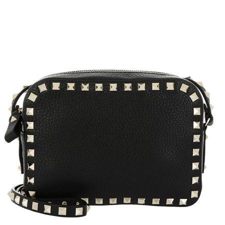 Valentino  Umhängetasche  -  Rockstud Camera Crossbody Bag Grained Black  - in schwarz  -  Umhängetasche für Damen schwarz