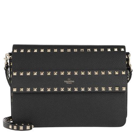 Valentino  Umhängetasche  -  Rockstud Crossbody Bag Grained Calfskin Nero  - in schwarz  -  Umhängetasche für Damen grau