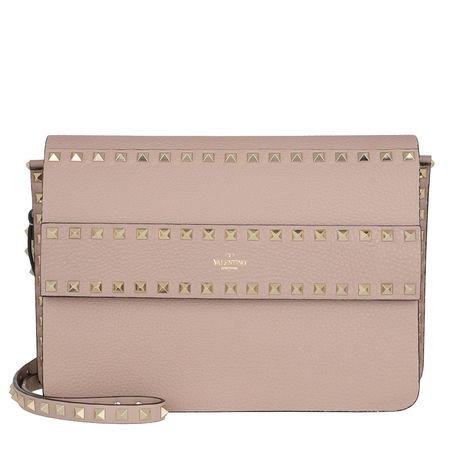 Valentino  Umhängetasche  -  Rockstud Crossbody Bag Grained Calfskin Poudre  - in rosa  -  Umhängetasche für Damen braun