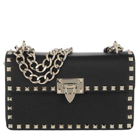 Valentino  Umhängetasche  -  Rockstud Crossbody Bag Medium Leather Black  - in schwarz  -  Umhängetasche für Damen schwarz