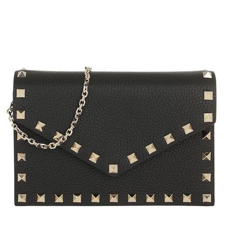 Valentino  Umhängetasche  -  Rockstud Envelope Shoulder Bag Nero  - in schwarz  -  Umhängetasche für Damen grau