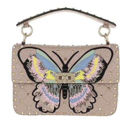 Valentino  Umhängetasche  -  Rockstud Spike Crossbody Bag Butterfly Leather Poudre  - in rosa  -  Umhängetasche für Damen braun