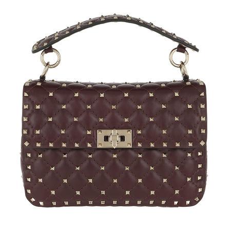 Valentino  Umhängetasche  -  Rockstud Spike Crossbody Bag Nappa Rubin  - in lila  -  Umhängetasche für Damen braun