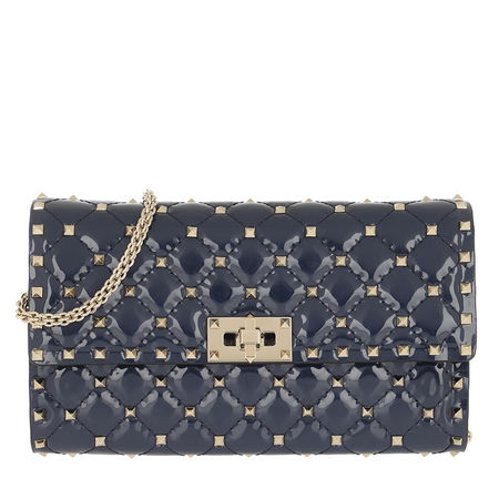 Valentino  Umhängetasche  -  Rockstud Spike Crossbody Bag Patent Small Pure Blue  - in blau  -  Umhängetasche für Damen grau