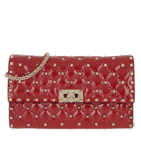Valentino  Umhängetasche  -  Rockstud Spike Crossbody Bag Patent Small Rosso  - in rot  -  Umhängetasche für Damen rot
