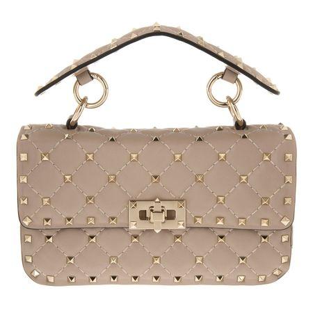 Valentino  Umhängetasche  -  Rockstud Spike Crossbody Bag Small Poudre  - in beige  -  Umhängetasche für Damen braun