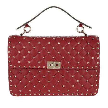 Valentino  Umhängetasche  -  Rockstud Spike L Crossbody Bag Leather Rosso  - in rot  -  Umhängetasche für Damen pink