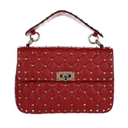 Valentino  Umhängetasche  -  Rockstud Spike Medium Clutch Lambskin Red  - in rot  -  Umhängetasche für Damen rot