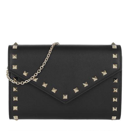 Valentino  Umhängetasche  -  Rockstud Wallet Leather Black  - in schwarz  -  Umhängetasche für Damen grau