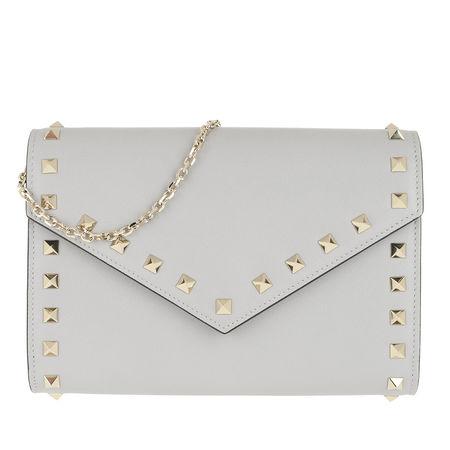 Valentino  Umhängetasche  -  Rockstud Wallet Leather Pastel Grey  - in grau  -  Umhängetasche für Damen braun