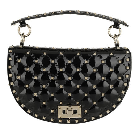 Valentino  Umhängetasche  -  Saddle Spike Crossbody Bag Patent Leather Black  - in schwarz  -  Umhängetasche für Damen schwarz