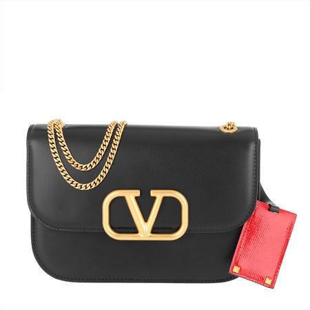 Valentino  Umhängetasche  -  Spike Small Shoulder Bag Black  - in schwarz  -  Umhängetasche für Damen grau