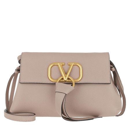 Valentino  Umhängetasche  -  V Ring Clutch Leather Poudre  - in beige  -  Umhängetasche für Damen braun