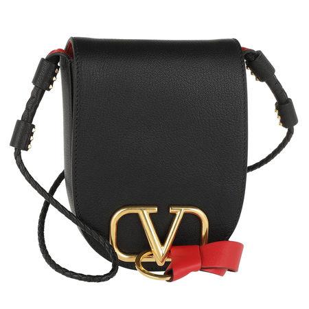 Valentino  Umhängetasche  -  V Ring Saddle Bag Nero  - in schwarz  -  Umhängetasche für Damen grau