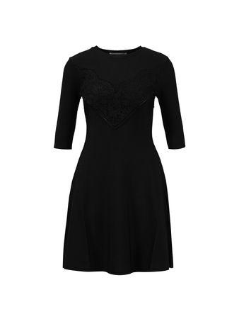Valentino  - Viskose-Kleid mit Spitzendetail Schwarz schwarz