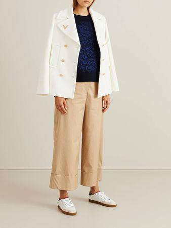 Valentino  - Woll-Cashmere-Pullover mit Stickerei Dunkelblau braun