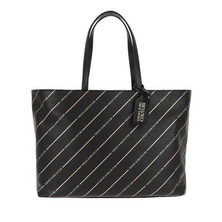 Versace  Jeans Couture Shopper  -  Logo With Stripes Bucket Bag Black  - in schwarz  -  Shopper für Damen grau