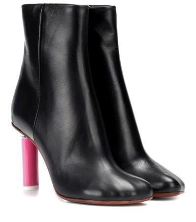 Vetements Ankle Boots aus Leder schwarz