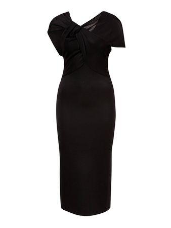 Victoria Beckham  - Midikleid mit drapiertem Oberteil Schwarz schwarz