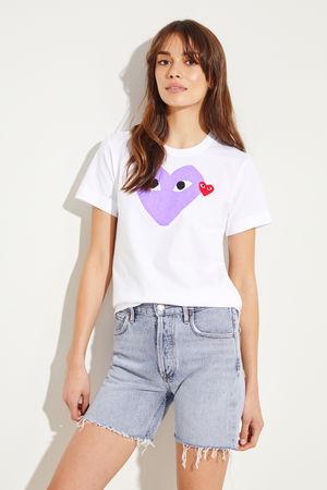Comme des Garçons Comme des Garcons Play - T-Shirt mit Herz-Emblem Weiß/Violett 100% Baumwolle  Made in Japan