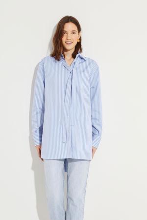 Valentino  - Gestreifte Oversize-Bluse Marineblau/Weiß 100% Baumwolle