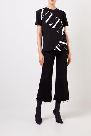 Valentino  - T-Shirt mit Logo-Aufdruck Schwarz/Weiß 100% Baumwolle Made in Italy