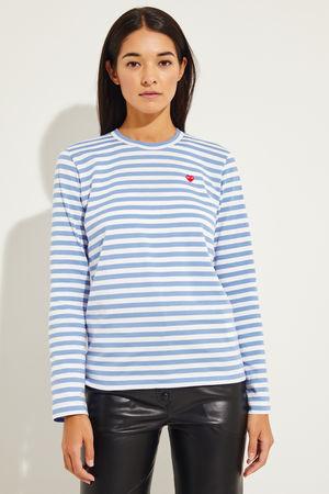 Comme des Garçons Comme des Garcons Play - Gestreiftes Longsleeve Hellblau/Weiß 100% Baumwolle  Made in Japan