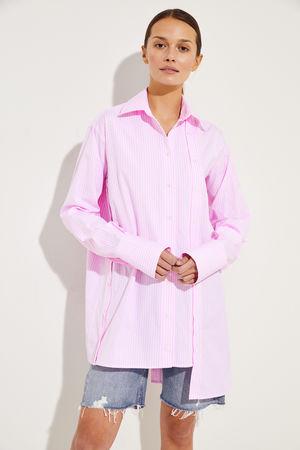 Rokh  - Gestreifte Bluse mit Knopfdetails Rosé/Weiß 100% Baumwolle  Made in Portugal
