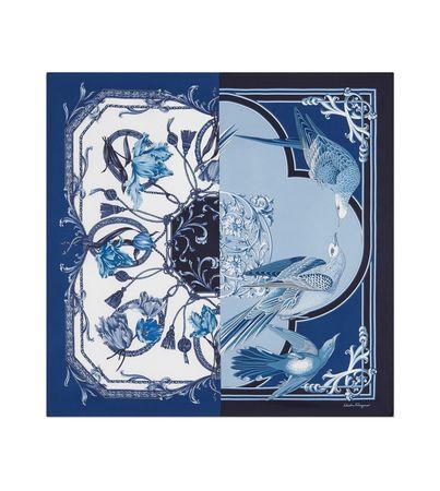 Salvatore Ferragamo  Damen Seidentuch mit Archiv-Prints Blau/weiß blau