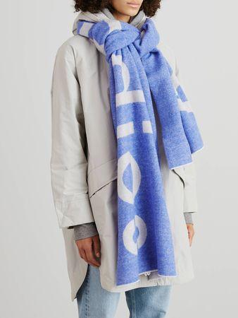 Acne Studios  - Woll-Schal 'Toronty' mit Logoprint Blau/Weiß grau