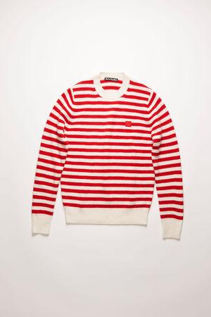 Acne Studios  FA-UX-KNIT000018 Rot/Weiß  Pullover mit Bretonstreifen braun