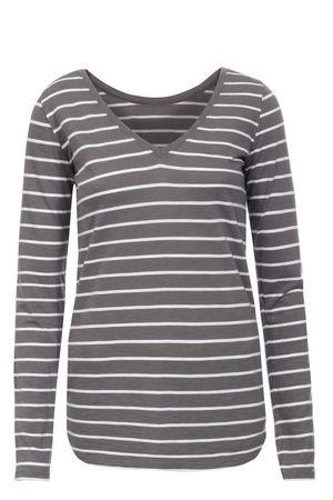 Juvia  Langarmshirt aus Baumwolle und Viskose mit Streifen Damen Farbe: anthrazit/weiß verfügbare Größe: S grau