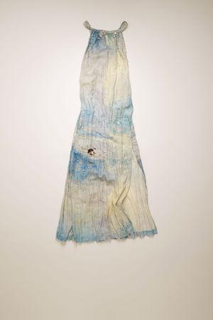 Acne Studios  FN-WN-DRES000374 Blau/Weiß  Verziertes Kleid mit Landschaftsgemälde braun