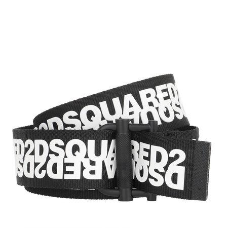 Dsquared2  Gürtel  -  Logo Webbing Belt Black/White  - in schwarz  -  Gürtel für Damen grau