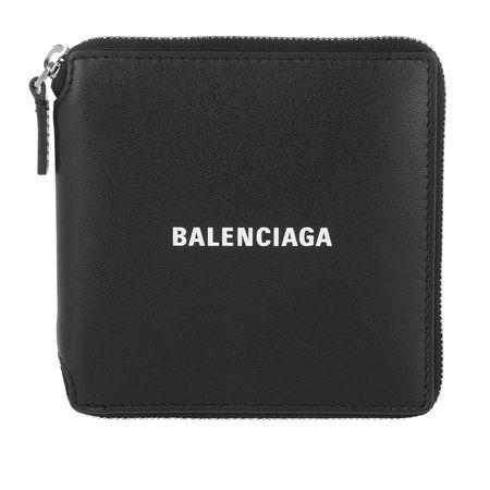 Balenciaga  Portemonnaie  -  Square Logo Printed Wallet Leather Black/White  - in schwarz  -  Portemonnaie für Damen grau