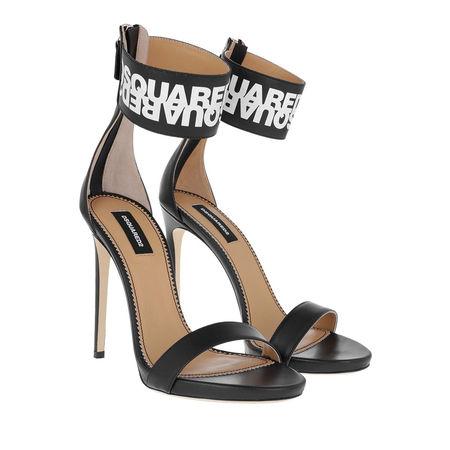 Dsquared2  Sandalen  -  Big Mirrored Logo Heels Black/White  - in schwarz  -  Sandalen für Damen braun