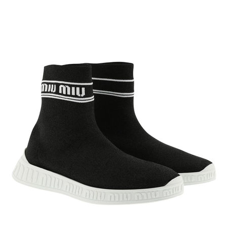 Miu Miu  Sneakers  -  Logo Sock Sneakers Black/White  - in schwarz  -  Sneakers für Damen schwarz