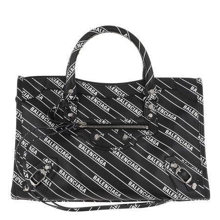Balenciaga  Tote  -  Logo City Tote Leather Black/White  - in schwarz  -  Tote für Damen grau