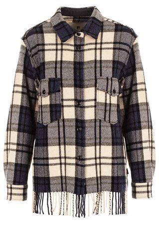 Woolrich Kariertes Hemd mit Fransen schwarz