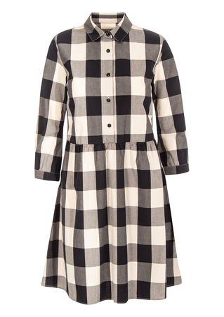 Woolrich Kleid aus Baumwolle in Dunkelblau-Créme grau