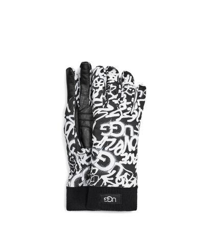 UGG  Graffiti All Weather Handschuhe für Damen in Schwarz/Weiß Größe L/XL grau