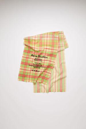 Acne Studios  FN-UX-SCAR000111 Fuchsia/yellow  Checked logo scarf grau