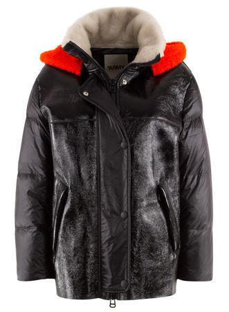 Yves Salomon Army by  - Jacke aus Leder mit Daunenfüllung schwarz