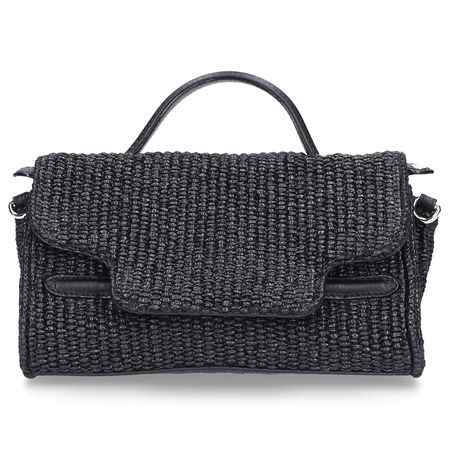Zanellato  Handtasche NINA BABY Baumwolle Logo schwarz grau