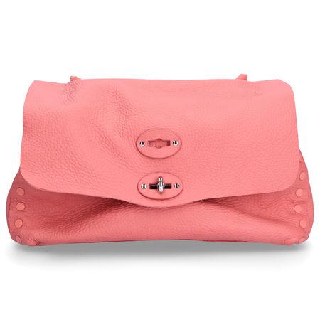 Zanellato Handtasche PURA CACHEMIRE Kalbseder prägung logo metalisch rosé rot