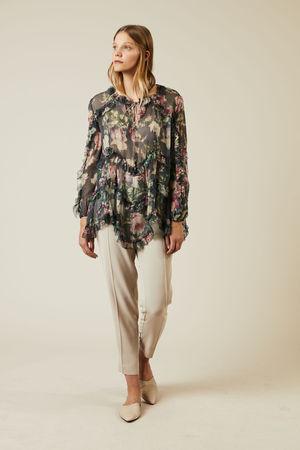 Zimmermann  - Seiden-Bluse 'Iris Ruffle' Multi braun
